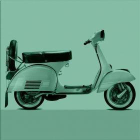 Canvas Wall Art Vespa, Glowing in the dark, 80 x 80 cm