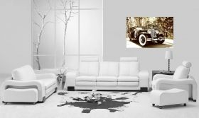 Canvas Wall Art Black car of the era, Glowing in the dark, 80 x 120 cm