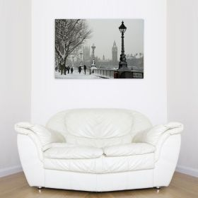 Canvas Wall Art London under the snow, Glowing in the dark, 60 x 90 cm