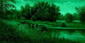 Canvas Wall Art Summer on the lake, Glowing in the dark, 60 x 120 cm