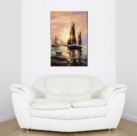 Canvas Wall Art Sailboat, Glowing in the dark, 80 x 120 cm