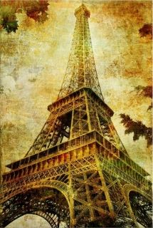 Canvas Wall Art Eiffel Tower, Glowing in the dark, 60 x 90 cm