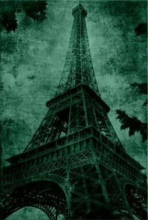 Canvas Wall Art Eiffel Tower, Glowing in the dark, 80 x 120 cm