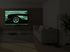 Canvas Wall Art Sports car, Glowing in the dark, 80 x 120 cm