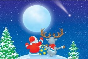 Canvas Wall Art Santa and reindeer, Glowing in the dark, 60 x 90 cm