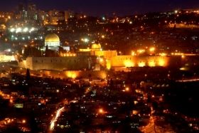 Canvas Wall Art Jerusalim, Glowing in the dark, 80 x 120 cm