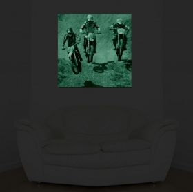 Canvas Wall Art Motorcycling, Glowing in the dark, 80 x 80 cm