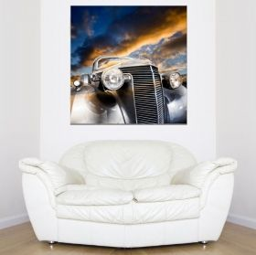 Canvas Wall Art Silver retro car, Glowing in the dark, 80 x 80 cm
