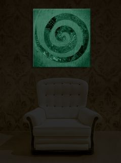 Canvas Wall Art Feng Shui Spiral, Glowing in the dark, 80 x 80 cm