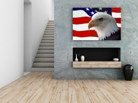 Canvas Wall Art American eagle on the flag, Glowing in the dark, 80 x 120 cm