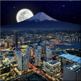 Canvas Wall Art Yokohama night, Glowing in the dark, 80 x 80 cm