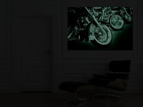 Canvas Wall Art Motorcycles, Glowing in the dark, 80 x 120 cm