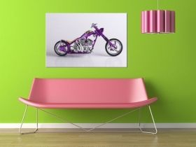 Tablou Chopper american, luminos in intuneric, 80 x 120 cm