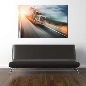 Canvas Wall Art Speed truck, Glowing in the dark, 80 x 120 cm