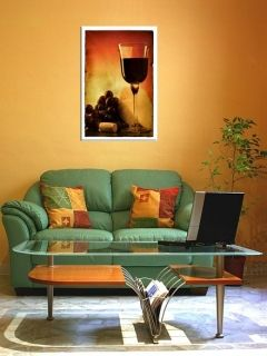 Canvas Wall Art Glass of wine, Glowing in the dark, 60 x 90 cm