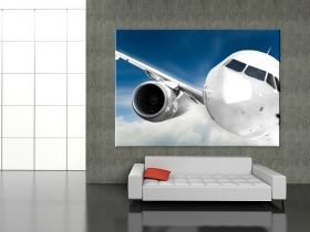 Canvas Wall Art Airplane in the sky, Glowing in the dark, 80 x 120 cm