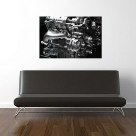 Canvas Wall Art Engine, Glowing in the dark, 80 x 120 cm