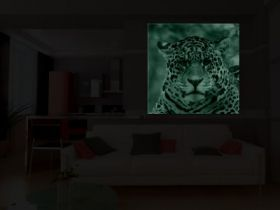 Tablou Jaguar, luminos in intuneric, 80 x 80 cm