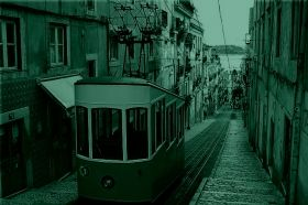 Canvas Wall Art Tram in Lisbon, Glowing in the dark, 60 x 90 cm