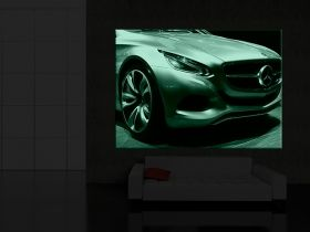 Canvas Wall Art Mercedes Auto Show, Glowing in the dark, 60 x 90 cm