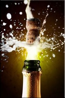 Canvas Wall Art Champagne, Glowing in the dark, 60 x 90 cm