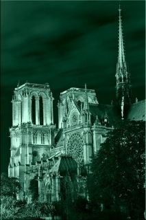 Tablou Paris - Catedrala Notre Dame, luminos in intuneric, 60 x 90 cm