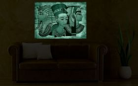 Canvas Wall Art Egyptian gods, Glowing in the dark, 80 x 120 cm