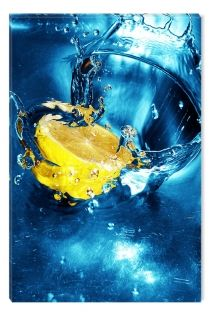 Canvas Wall Art Lemon in the water, Glowing in the dark, 80 x 120 cm
