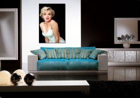 Canvas Wall Art Marilyn Monroe - The Most Beautiful Woman in the World, Glowing in the dark, 60 x 90 cm