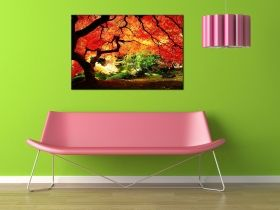 Canvas Wall Art Red maple, Glowing in the dark, 80 x 120 cm