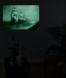 Canvas Wall Art Aivazovschy Parade Of The Black Sea Fleet In 1852, Glowing in the dark, 60 x 90 cm