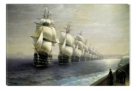 Canvas Wall Art Aivazovschy Parade Of The Black Sea Fleet In 1852, Glowing in the dark, 80 x 120 cm