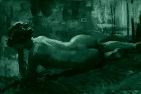 Canvas Wall Art Arnold Beavais Reclining Nude, Glowing in the dark, 60 x 90 cm
