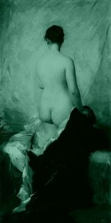Tablou Charles Joshua Chaplin - Nude From The Back, luminos in intuneric, 60 x 120 cm