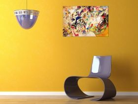 Canvas Wall Art Kandinski Abstract III, Glowing in the dark, 60 x 90 cm