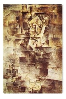 Canvas Wall Art Picasso Portrait of Daniel Henry Kahnweiler, Glowing in the dark, 60 x 90 cm