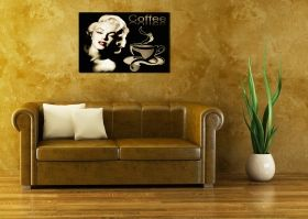 Tablou Cafea Marilyn Monroe, luminos in intuneric, 80 x 120 cm