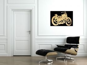 Canvas Wall Art Retro motorcycle, Glowing in the dark, 60 x 90 cm