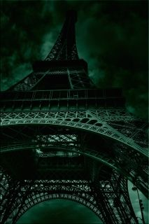 Canvas Wall Art Eiffel Tower, Paris, Glowing in the dark, 80 x 120 cm