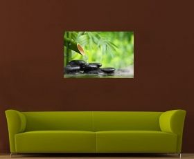 Canvas Wall Art Bamboo Zen, Glowing in the dark, 80 x 120 cm