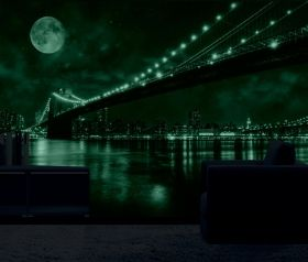 Mural Wall Art Brooklyn Bridge, Glowing in the dark, 3.66 x 2.56 m