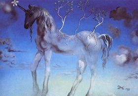 Mural Wall Art Unicorn, Salvador Dali, Glowing in the dark, 1.83 x 1.28 m