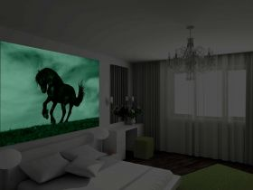 Mural Wall Art Black horse, Glowing in the dark, 3.66 x 2.56 m