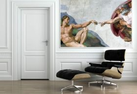 Mural Wall Art Creation of Adam, Michelangelo, Glowing in the dark, 1.83 x 1.28 m