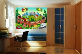 Mural Wall Art Children's World, Glowing in the dark, 1.83 x 1.28 m