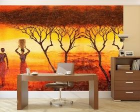 Mural Wall Art African theme, Glowing in the dark, 3.66 x 2.56 m