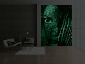 Mural Wall Art Abstract Face, Glowing in the dark, 1.83 x 1.28 m