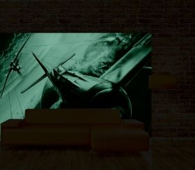 Mural Wall Art Airplane war, Glowing in the dark, 3.66 x 2.56 m