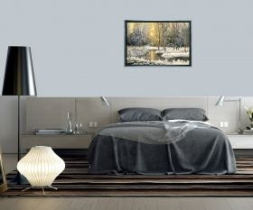 Tablou Luxury Iarna pe lac, luminos in intuneric, 70 x 100 cm