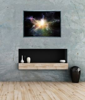 Luxury Framed Wall Art Galaxy, Glowing in the dark, 70 x 100 cm